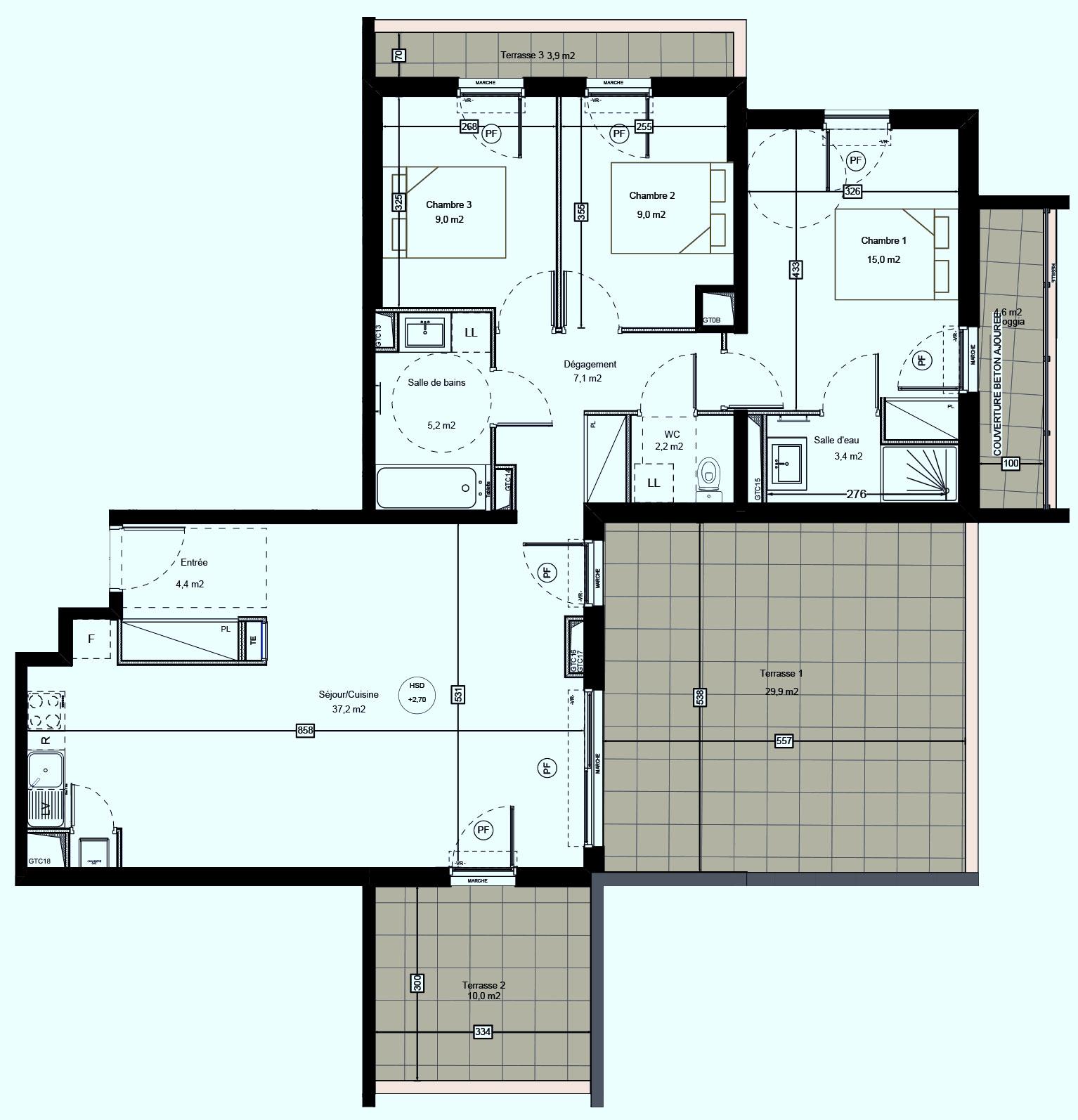 T4 neuf dernier étage Traversant sur Saint-Jean-de-Vedas  livraison 3T2021